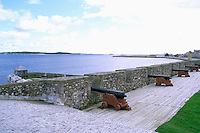 Fortress of Louisbourg National Historic Site (NHS), Cape Breton Island, NS, Nova Scotia, Canada - Guns / Cannons on King's Bastion Ramparts at Reconstructed 18th Century French Fortified Town