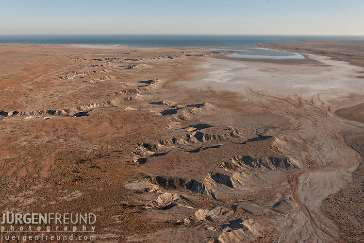 Aerial - Desert land going towards Lake Eyre coming from William Creek.