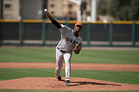 San Francisco Giants relief pitcher Wilson Santos (48) delivers a pitch to the plate during a Minor League Spring Training game against the Cleveland Indians at the San Francisco Giants Training Complex on March 14, 2018 in Scottsdale, Arizona. (Zachary Lucy/Four Seam Images)