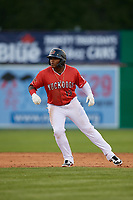 Batavia Muckdogs Albert Guaimaro (13) leads off during a NY-Penn League game against the Auburn Doubledays on June 14, 2019 at Dwyer Stadium in Batavia, New York.  Batavia defeated 2-0.  (Mike Janes/Four Seam Images)