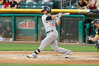 Andy Parrino (16) of the Sacramento River Cats at bat against the Salt Lake Bees at Smith's Ballpark on June 6, 2014 in Salt Lake City, Utah.  (Stephen Smith/Four Seam Images)