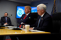 United States President Donald J. Trump and US Vice President Mike Pence attend a teleconference with governors at the Federal Emergency Management Agency headquarters, Thursday, March 19, 2020, in Washington, DC.<br /> Credit: Evan Vucci / Pool via CNP/AdMedia
