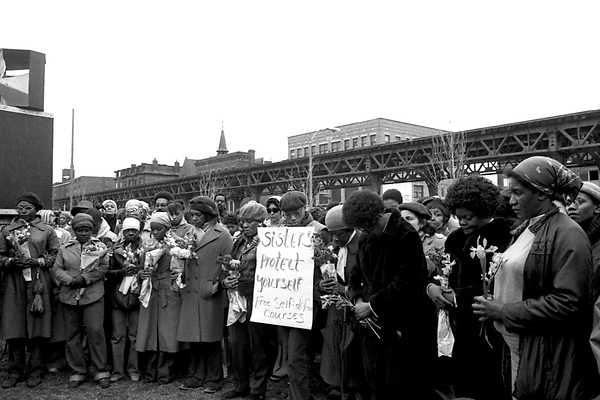 Memorial March for murdered women of color in Boston MA<br /> 4.1.79