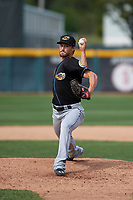 Akron RubberDucks relief pitcher Dylan Baker (12) delivers a warmup pitch during a game against the Erie SeaWolves on August 27, 2017 at UPMC Park in Erie, Pennsylvania.  Akron defeated Erie 6-4.  (Mike Janes/Four Seam Images)