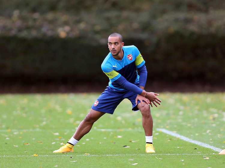 Arsenal's Theo Walcott<br /> Photographer Kieran Galvin/CameraSport<br /> <br /> Football - Barclays Premiership - Arsenal Training Session - Monday 3rd November 2014 - Colney Training Ground - Shenley - Hertfordshire<br /> <br /> &copy; CameraSport - 43 Linden Ave. Countesthorpe. Leicester. England. LE8 5PG - Tel: +44 (0) 116 277 4147 - admin@camerasport.com - www.camerasport.com