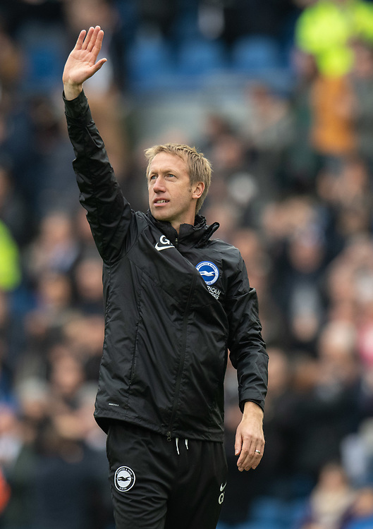 Brighton & Hove Albion Head Coach Graham Potter  applauds the fans at the final whistle after the teams 3-0 win<br /> <br /> Photographer David Horton/CameraSport<br /> <br /> The Premier League - Brighton and Hove Albion v Tottenham Hotspur - Saturday 5th October 2019 - The Amex Stadium - Brighton<br /> <br /> World Copyright © 2019 CameraSport. All rights reserved. 43 Linden Ave. Countesthorpe. Leicester. England. LE8 5PG - Tel: +44 (0) 116 277 4147 - admin@camerasport.com - www.camerasport.com