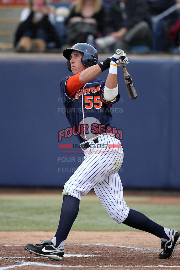 Michael Lorenzen #55 of the Cal. St. Fullerton Titans bats against the Cal. St. Long Beach 49'ers at Goodwin Field in Fullerton,California on May 14, 2011. Photo by Larry Goren/Four Seam Images