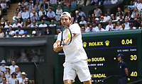 Joao Sousa (POR) during his match against  Rafael Nadal (ESP) in their Gentleman's Singles Fourth Round match<br /> <br /> Photographer Rob Newell/CameraSport<br /> <br /> Wimbledon Lawn Tennis Championships - Day 7 - Monday 8th July 2019 -  All England Lawn Tennis and Croquet Club - Wimbledon - London - England<br /> <br /> World Copyright © 2019 CameraSport. All rights reserved. 43 Linden Ave. Countesthorpe. Leicester. England. LE8 5PG - Tel: +44 (0) 116 277 4147 - admin@camerasport.com - www.camerasport.com