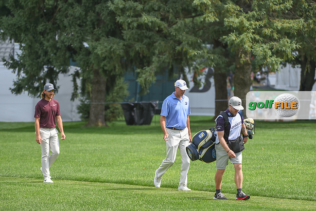 Matt Kuchar (USA) and Tommy Fleetwood (ENG) head down 17 during 2nd round of the World Golf Championships - Bridgestone Invitational, at the Firestone Country Club, Akron, Ohio. 8/3/2018.<br /> Picture: Golffile | Ken Murray<br /> <br /> <br /> All photo usage must carry mandatory copyright credit (© Golffile | Ken Murray)