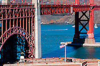 United States, California, San Francisco. The famous Golden Gate Bridge, a suspension bridge spanning the Golden Gate.