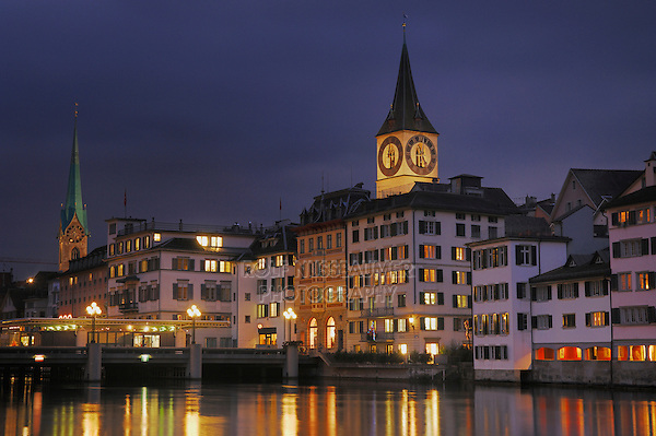 Peterskirche and Frauenmuenster, Zurich, Switzerland
