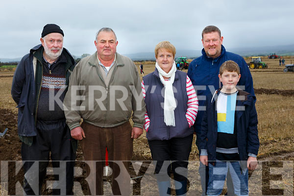 At the Abbeydorney Ploughing Match on Sunday were James Collins, Timmy Horan, Margaret Horan, Tom Leslie and Pierce Leslie, Castleisland, Ardfert and Killarney