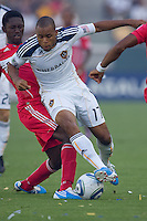 LA Galaxy forward Tristan Bowen moves past Chicago Fire's Patrick Nyarko on the way to the goal. The Chicago Fire beat the LA Galaxy 3-2 at Home Depot Center stadium in Carson, California on Sunday August 1, 2010.
