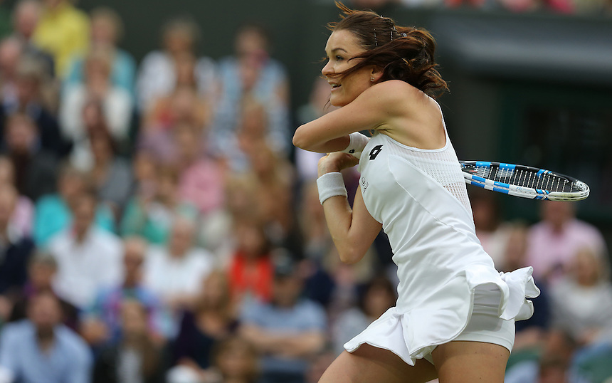 Agnieszka Radwanska of Poland in action during her Ladies&rsquo; Singles First Round match against Kateryna Kozlova of Ukraine today<br /> <br /> Photographer Stephen White/CameraSport<br /> <br /> Tennis - Wimbledon Lawn Tennis Championships - Day 3 - Wednesday 29th June 2016 -  All England Lawn Tennis and Croquet Club - Wimbledon - London - England<br /> <br /> World Copyright &copy; 2016 CameraSport. All rights reserved. 43 Linden Ave. Countesthorpe. Leicester. England. LE8 5PG - Tel: +44 (0) 116 277 4147 - admin@camerasport.com - www.camerasport.com