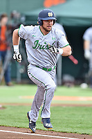 Notre Dame Fighting Irish designated hitter Ryan Bull (19) runs to first during a game against the Clemson Tigers during game one of a double headers at Doug Kingsmore Stadium March 14, 2015 in Clemson, South Carolina. The Tigers defeated the Fighting Irish 6-1. (Tony Farlow/Four Seam Images)