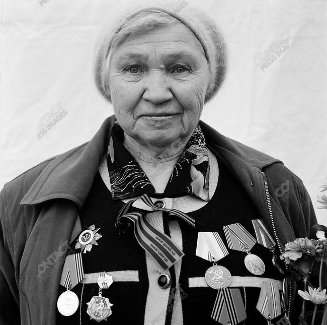 WWII veteran during Victory Day celebrations, Volya Vasilyevna Reshetnyak, b. 1925, Anti-Aircraft Gunner. Moscow, Russia, May 9, 2008