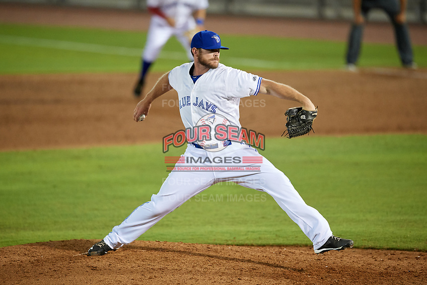 Dunedin Blue Jays relief pitcher Jackson McClelland (52) delivers a pitch during a game against the Fort Myers Miracle on April 17, 2018 at Dunedin Stadium in Dunedin, Florida.  Dunedin defeated Fort Myers 5-2.  (Mike Janes/Four Seam Images)
