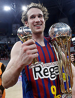 FC Barcelona Regal's Marcelinho Huertas celebrates the victory in the Spanish Basketball King's Cup Final match.February 07,2013. (ALTERPHOTOS/Acero)