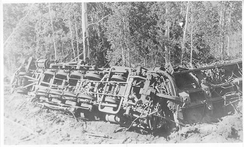 RGS #455 wreck underside.  Wreck occurred in November 1943.<br /> RGS  near Dallas Divide, CO  Taken by Perry, Otto C. - 6/19/1944