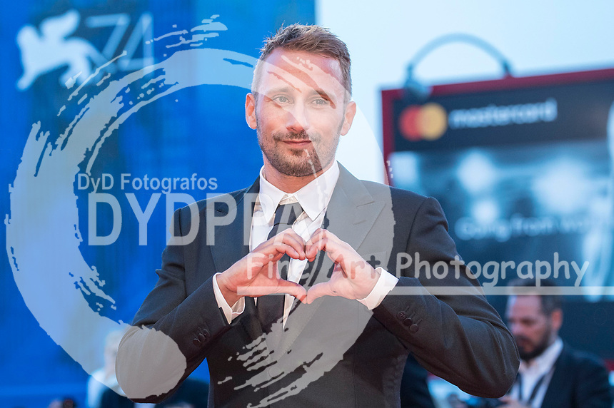 Matthias Schoenaerts attending the 'Le Fidèle' premiere at the 74th Venice International Film Festival at the Palazzo del Cinema on September 08, 2017 in Venice, Italy