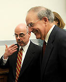 "Washington, D.C. - January 15, 2008 -- United States Representative Henry Waxman (Democrat of the 30th District of California), Chairman, United States House Committee on Oversight and Government Reform, speaks with former United States Senator George Mitchell, following the latter's testimony on ""The Mitchell Report: The Illegal Use of Steroids in Major League Baseball."" on Tuesday, January 15, 2008..Credit: Ron Sachs / CNP.[RESTRICTION: No New York Metro or other Newspapers within a 75 mile radius of New York City]"
