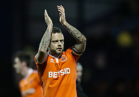 Blackpool's Jay Spearing applauds his side's travelling supporters at the end of the match <br /> <br /> Photographer Andrew Kearns/CameraSport<br /> <br /> The EFL Sky Bet League One - Portsmouth v Blackpool - Saturday 12th January 2019 - Fratton Park - Portsmouth<br /> <br /> World Copyright © 2019 CameraSport. All rights reserved. 43 Linden Ave. Countesthorpe. Leicester. England. LE8 5PG - Tel: +44 (0) 116 277 4147 - admin@camerasport.com - www.camerasport.com