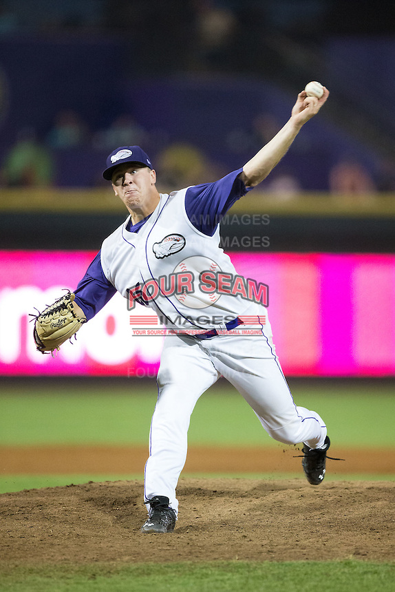 Winston-Salem Dash relief pitcher Brian Clark (26) in action against the Carolina Mudcats at BB&T Ballpark on July 23, 2015 in Winston-Salem, North Carolina.  The Dash defeated the Mudcats 3-2.  (Brian Westerholt/Four Seam Images)