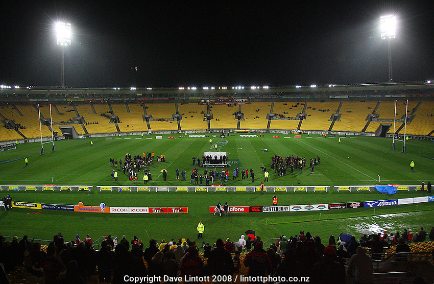 A small crowd stays for the cup presentation after the Air NZ Cup Final between Wellington and Canterbury at Westpac Stadium, Wellington, New Zealand on Saturday 25th October 2008.  Photo: Dave Lintott / lintottphoto.co.nz
