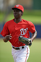 GCL Nationals right fielder Eric Senior (10) jogs to the dugout during the first game of a doubleheader against the GCL Mets on July 22, 2017 at The Ballpark of the Palm Beaches in Palm Beach, Florida.  GCL Mets defeated the GCL Nationals 1-0 in a seven inning game that originally started on July 17th.  (Mike Janes/Four Seam Images)