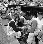 Pittsburgh PA:  Roberto Clemente at the HYPO charity baseball game with the Cleveland Indians - 1964.  The money raised by HYPO (Help Young Players Organize) was used to help local communities buy equipment and build ball fields