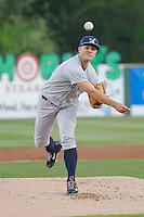 Wilmington Blue Rocks pitcher Jakob Junis (24) during a game against the Myrtle Beach Pelicans at Ticketreturn.com Field at Pelicans Ballpark on April 09, 2015 in Myrtle Beach, South Carolina. Myrtle Beach defeated Wilmington 9-1. (Robert Gurganus/Four Seam Images)