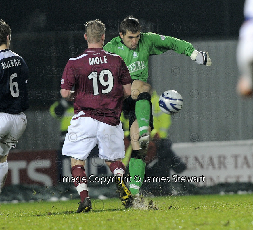 27/12/2009  Copyright  Pic : James Stewart.sct_jspa31_falkirk_v_hearts  .:: ROBERT OLEJNIK CLEARS FROM JAMIE MOLE  :: .James Stewart Photography 19 Carronlea Drive, Falkirk. FK2 8DN      Vat Reg No. 607 6932 25.Telephone      : +44 (0)1324 570291 .Mobile              : +44 (0)7721 416997.E-mail  :  jim@jspa.co.uk.If you require further information then contact Jim Stewart on any of the numbers above.........