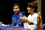 Maria Perez Robles, left, listens as Aurora De La Torre speaks to the crowd at the La Posada Celebration at Western Nevada College, in Carson City, Nev., on Saturday, Dec. 15, 2018. <br /> Photo by Cathleen Allison/Nevada Momentum