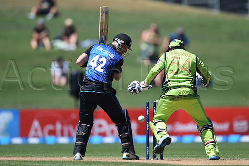 03.02.2015. Napier, New Zealand.  Brendon McCullum is bowled by Afridi as Sarfraz Ahmed looks on. ANZ One Day International Cricket Series. Match 2 between New Zealand Black Caps and Pakistan at McLean Park in Napier, New Zealand.