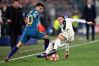 Angel Correa of Atletico Madrid and Federico Bernardeschi of Juventus compete for the ball during the Uefa Champions League 2018/2019 round of 16 second leg football match between Juventus and Atletico Madrid at Juventus stadium, Turin, March, 12, 2019 <br />  Foto Andrea Staccioli / Insidefoto