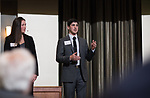 Faith Voinovich (left), and Zach Reizes (right), answer questions asked by the judges at the 3rd Annual Robert L. Foehl Ethical Leadership Case Competiton.