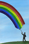 Illustrative image of man drawing rainbow in sky with paint roller representing bright future