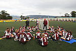 Santa Barbara, CA 02/19/11 - The Minnesota-Duluth team talks strategy at  half time with more rain clouds looming in the background at the 2011 Santa Barbara Shootout.