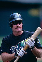 OAKLAND, CA - Wade Boggs of the Tampa Bay Devil Rays takes batting practice before a game against the Oakland Athletics at the Oakland Coliseum in Oakland, California in 1998. Photo by Brad Mangin