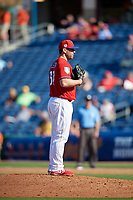 Philadelphia Phillies relief pitcher Jeremy Bleich (67) looks in for the sign during a Grapefruit League Spring Training game against the Baltimore Orioles on February 28, 2019 at Spectrum Field in Clearwater, Florida.  Orioles tied the Phillies 5-5.  (Mike Janes/Four Seam Images)