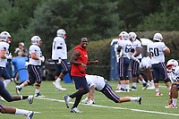 August 1, 2018: New England Patriots wide receiver Matthew Slater (18) warms up out with the team at the New England Patriots training camp held on the practice fields at Gillette Stadium, in Foxborough, Massachusetts. Eric Canha/CSM