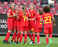 20191008 CLUJ NAPOCA:Belgium's Laura Deneve (18) 's goal celebration at the match between Belgium Women's National Team and Romania Women's National Team as part of EURO 2021 Qualifiers on 8th of October 2019 at CFR Stadium, Cluj Napoca, Romania. PHOTO SPORTPIX | SEVIL OKTEM