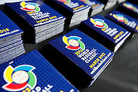 20 September 2012: Close view of World Baseball Classic booklets in the Roger Dean Stadium prior to Spain 8-0 win over France, at the 2012 World Baseball Classic Qualifier round, in Jupiter, Florida, USA.