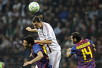 MILAO, ITALIA, 28 DE MARCO 2012 - CHAMPIONS LEAGUE - Zalatan Ibrahimovic (C) jogador do Milan durante partida contra o Barcelona apos a partida de ida das quartas de finais da Champion League no Estadio San Siro em Milao na Italia. A partida terminou em 0 a 0.  (FOTO: GIUSEPPE CELESTE / PIXATHLON / BRAZIL PHOTO PRESS