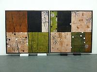"Hyun: Bamboo 0204 & 0504, Digital Print, Each 43"" x 43"" x 1.5"",  Total size 43"" x 86"" x 1.5 Silver Leaf Float Frame"