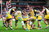 Jamie Shillcock of Worcester Warriors box-kicks the ball. Aviva Premiership match, between Leicester Tigers and Worcester Warriors on October 8, 2016 at Welford Road in Leicester, England. Photo by: Patrick Khachfe / JMP