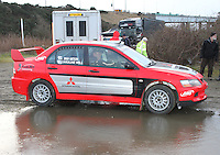 Brian Watson - Caroline Will in a Mitsubishi Lancer Evolution 8 at the Noise Test which took place at the Tulloch Stadium, Inverness for the 2014 Arnold Clark/Thistle Hotel Snowman Rally supported by Highland Office Equipment, part of the Capital Document Solutions which was organised by Highland Car Club and based in Inverness on 22.2.14; Round 1 of the 2014 RAC MSA Scottish Rally Championship sponsored by ARR Craib Transport Limited.
