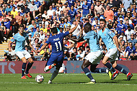 Pedro of Chelsea takes a shot at the Manchester City goal during Chelsea vs Manchester City, FA Community Shield Football at Wembley Stadium on 5th August 2018