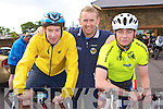 Kevin Murray, Tommy Brosnan Killarney and Francie Breen Tralee at the start of the annual Ring of Kerry cycle in Killarney on Saturday