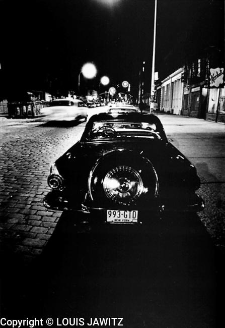 1956 ,1957, thunderbird black soho cobblestone, continental kit , n.y.c. ,ny, new york ,street,